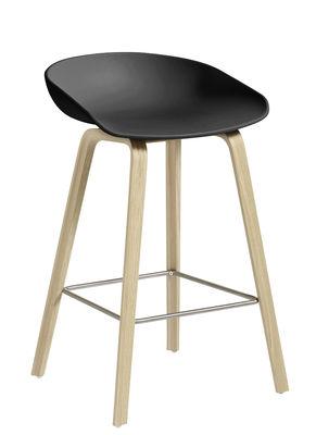 Furniture - Bar Stools - About a stool AAS 32 Bar stool - H 65 cm - Plastic & wood legs by Hay - Black / Wood legs / Steel footrest - Oak, Polypropylene
