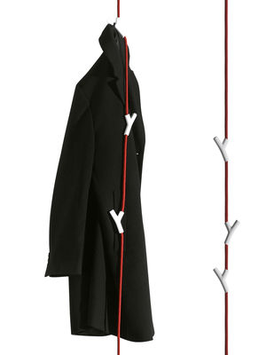 Furniture - Coat Racks & Pegs - Wardrope Coat stand - Coat-rack 4 hooks by Authentics - Red rope / White hooks - Polyamide, Steel, Zinc
