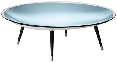 Möbel - Couchtische - Roy Couchtisch / Ø 120 cm - FIAM - Tischplatte transparent / Unterbau silberfarben / Tischbeine schwarz - gebürsteter Stahl, Glas