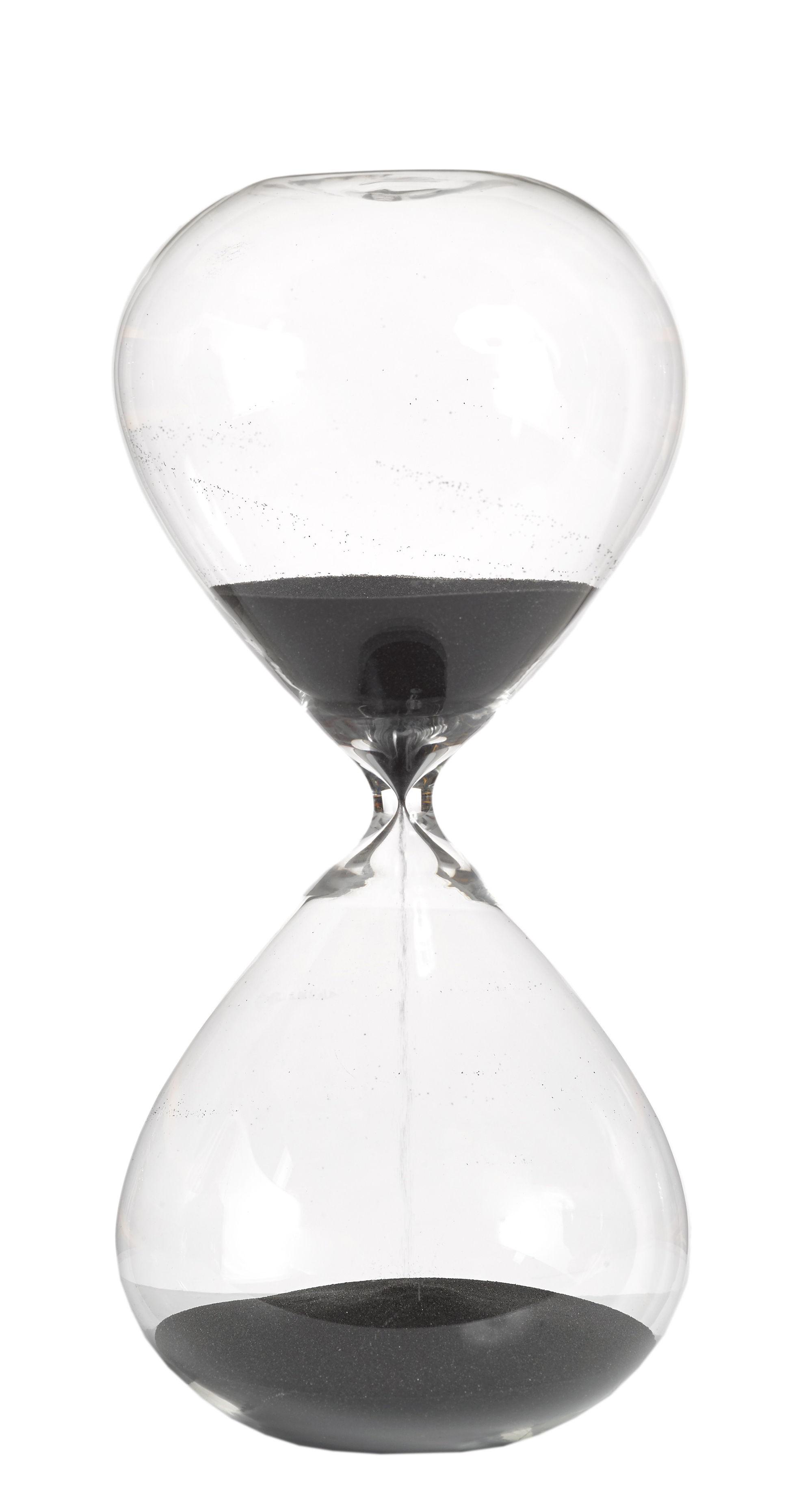 Decoration - Home Accessories - Ball Medium Egg timer - / 90 min - H 30 cm by Pols Potten - Transparent & Black - Glass