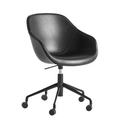 Fauteuil à roulettes About a chair AAC153 / Rembourré - Dossier haut - Cuir intégral - Hay noir en cuir