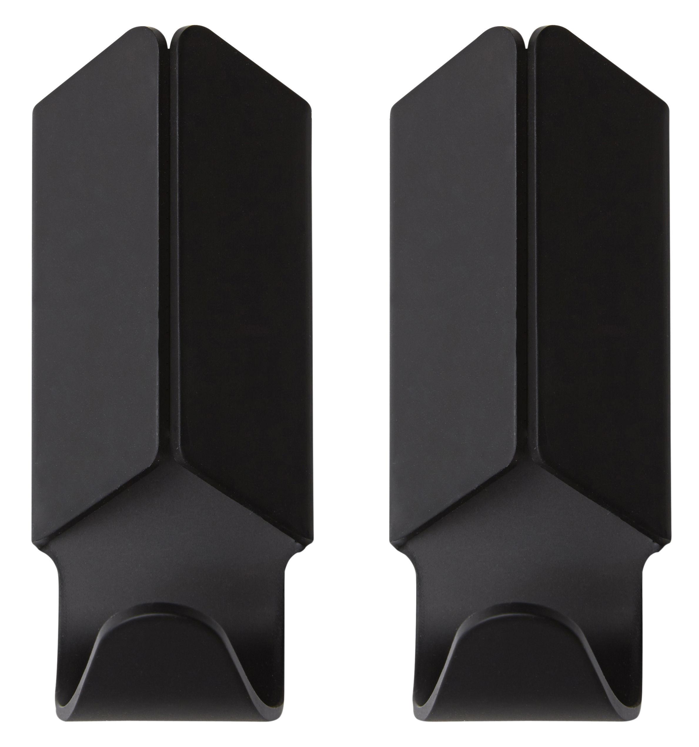 Furniture - Coat Racks & Pegs - Volet Hook - Set of 2 by Hay - Black - Anodized aluminium