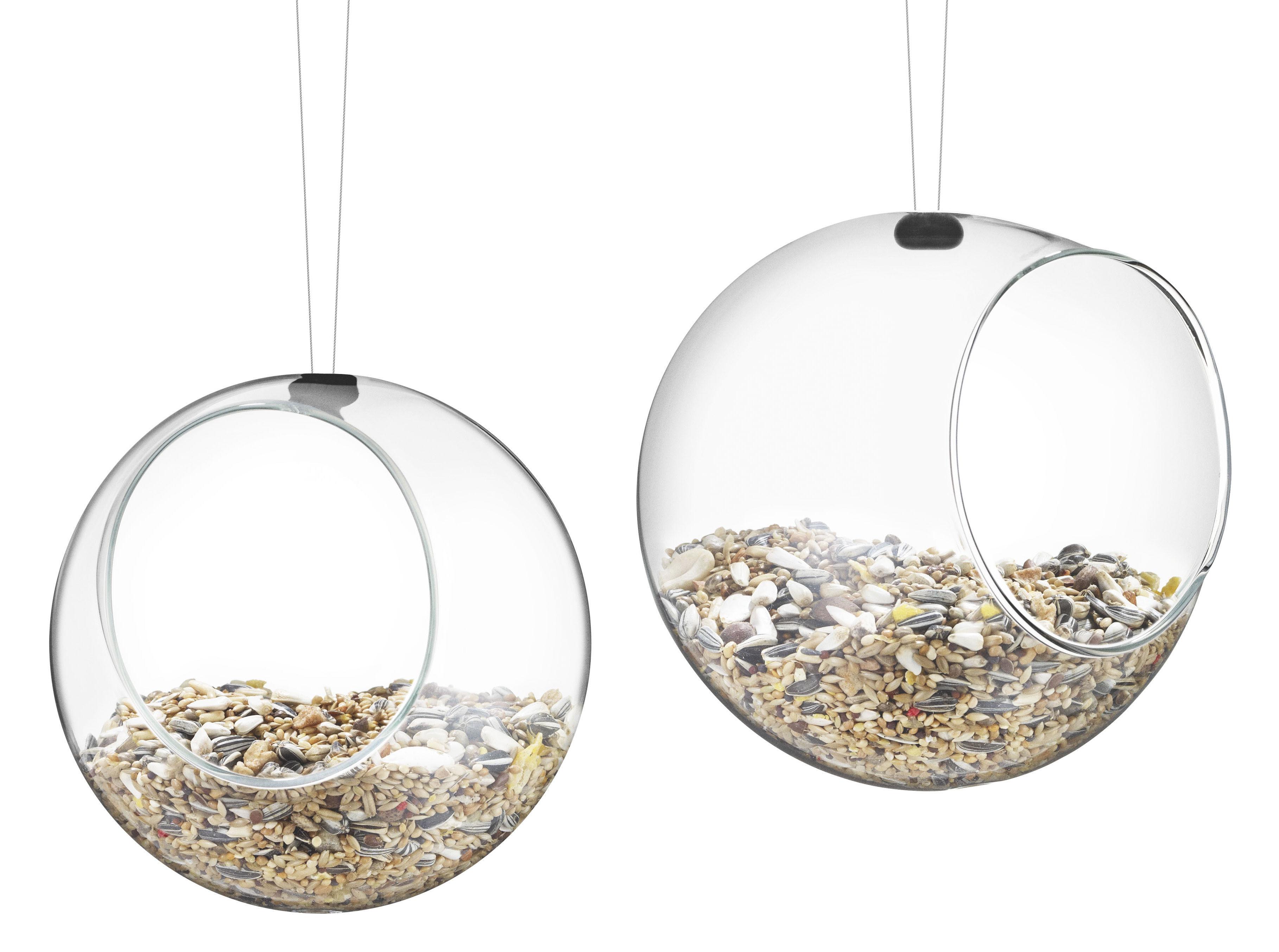 Outdoor - Decorazioni e accessori - Mangiatoia per uccelli - Set di 2 - Ø 12,3 cm di Eva Solo - Trasparente - Acciaio inox 18/10, Silicone, Vetro soffiato a bocca borosilicato