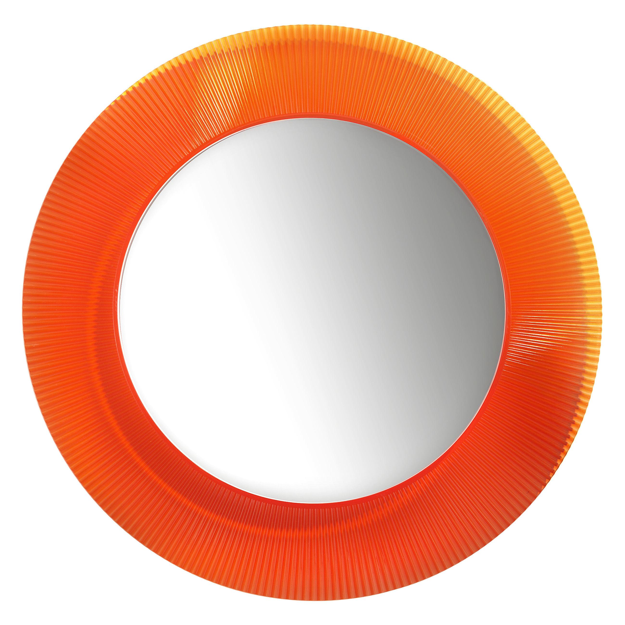 Accessoires - Accessoires salle de bains - Miroir mural All Saints / Ø 78 cm - Kartell - Orange tangerine - PMMA
