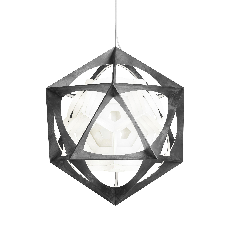 Lighting - Pendant Lighting - OE Quasi Pendant - LED / Ø 75 cm by Louis Poulsen - Dark metal / White - Polycarbonate, Sanded aluminium