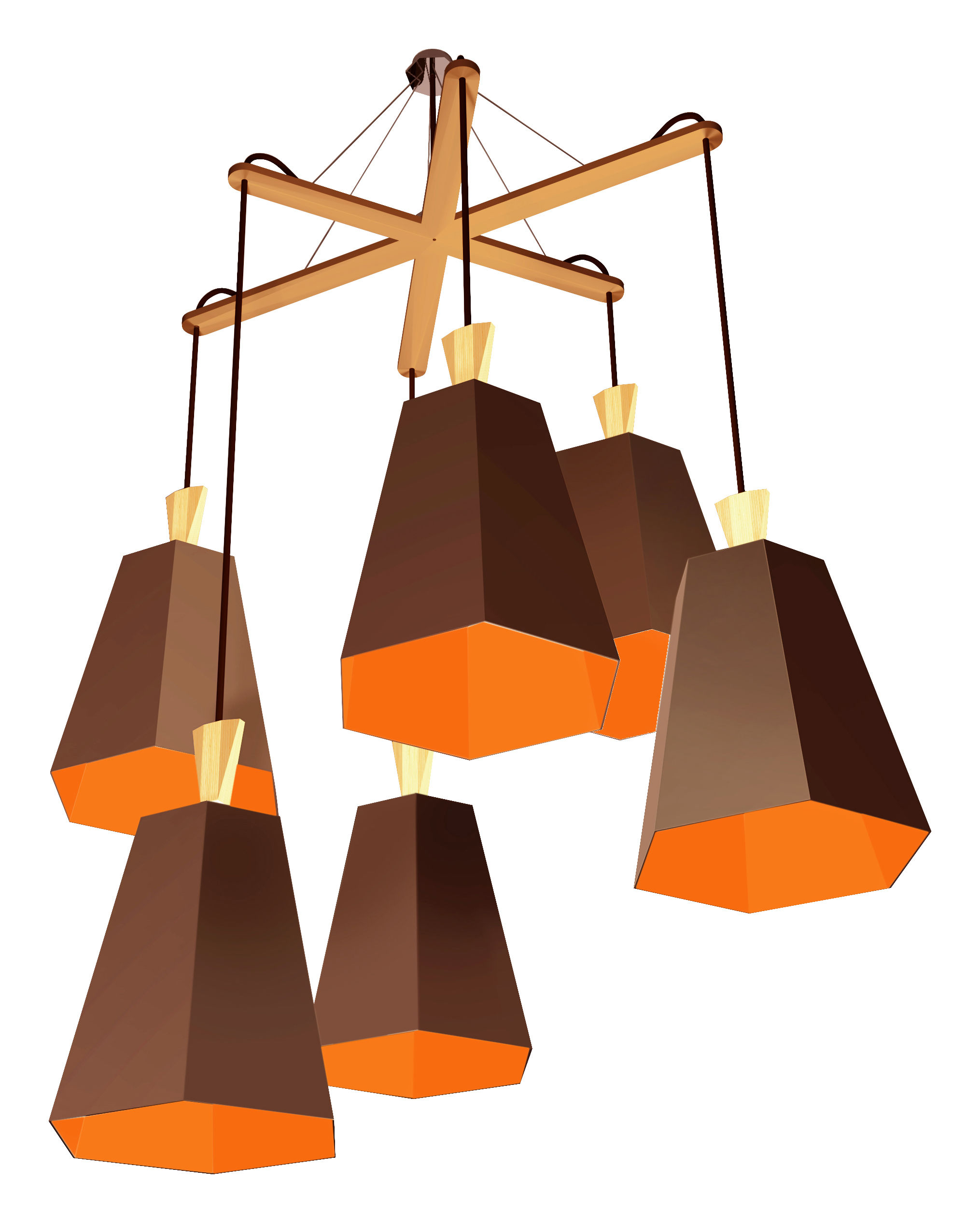 Leuchten - Pendelleuchten - LuXiole Pendelleuchte Kronleuchter / asymmetrisch - Designheure - Lampenschirm braun / Innenseite Orange - Baumwolle, Buchenfurnier