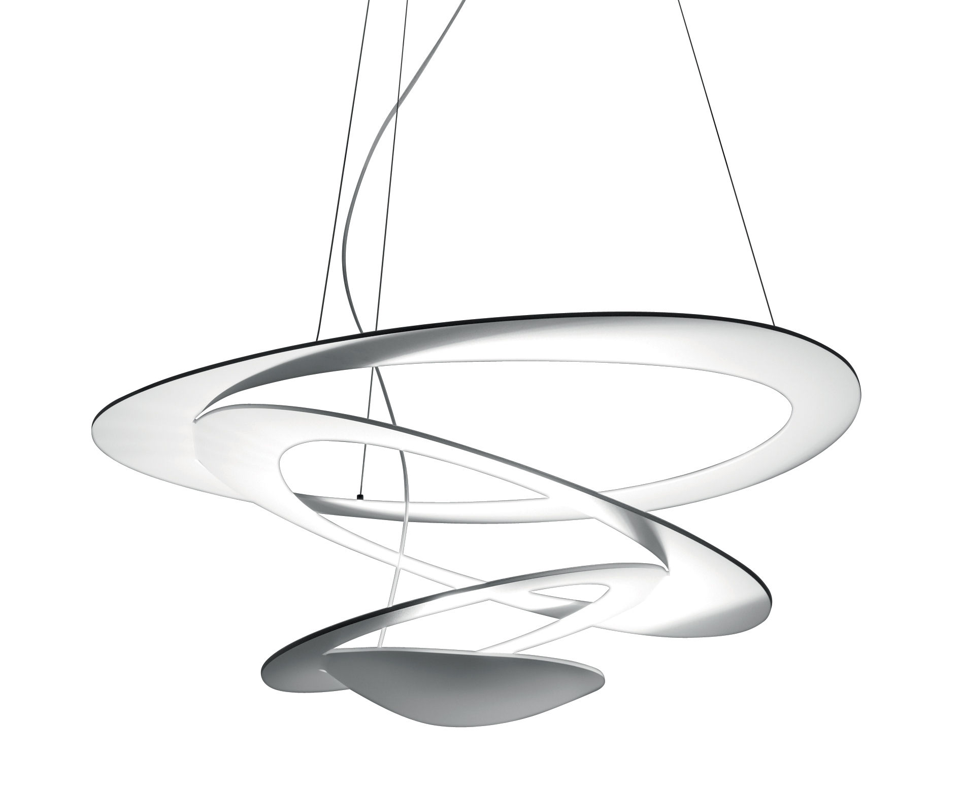 Leuchten - Pendelleuchten - Pirce Mini LED Pendelleuchte / Ø 69 cm - Artemide - Weiß - klarlackbeschichtetes Aluminium