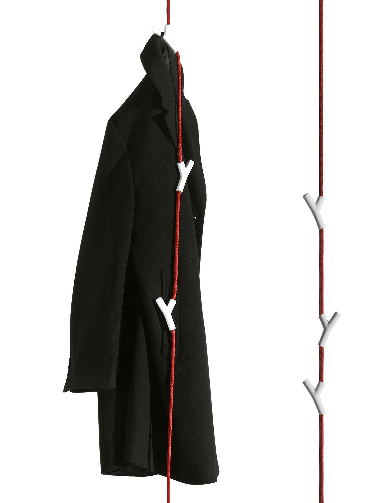 Mobilier - Portemanteaux, patères & portants - Portemanteau Wardrope corde 4 patères à suspendre - Authentics - Corde rouge / Patères blanches - Acier, Polyamide, Zinc