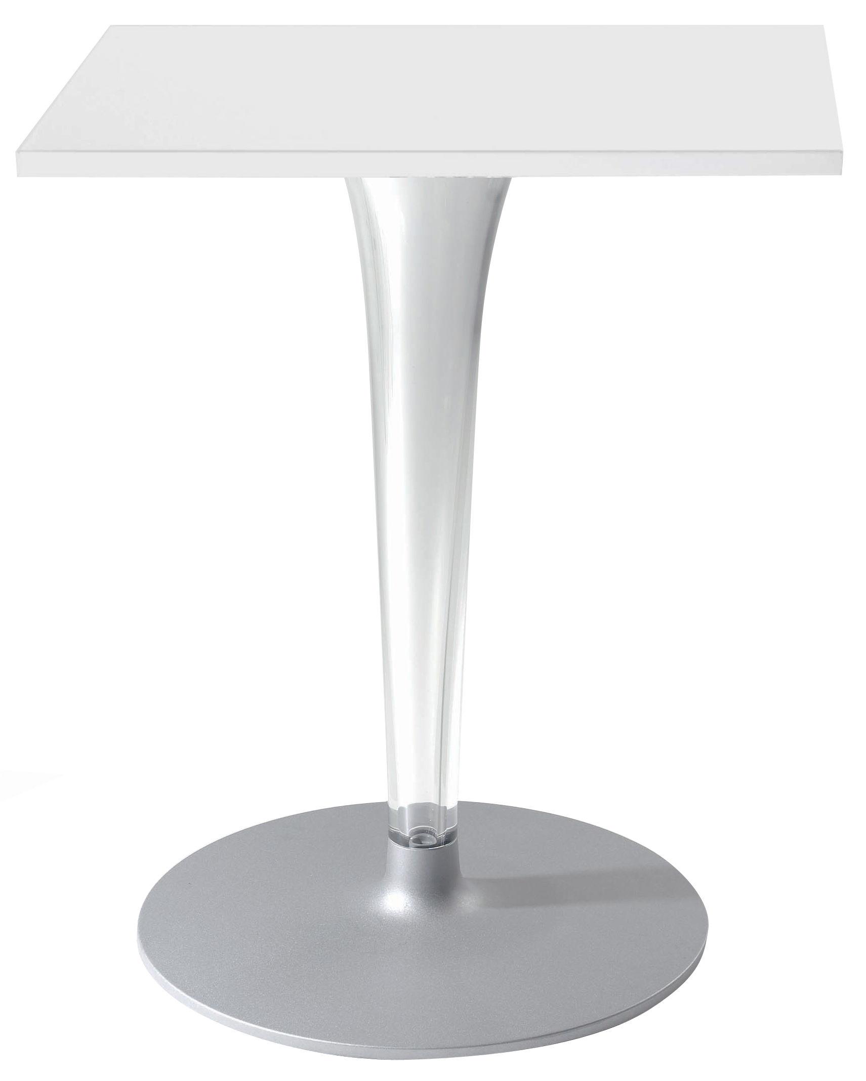 Outdoor - Tische - Top Top - Contract outdoor quadratischer Tisch mit eckiger Tischplatte - Kartell - Weiß / Fuß rund - klarlackbeschichtetes Aluminium, Melamin, PMMA