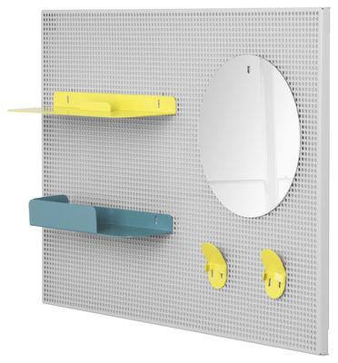 Mobilier - Meubles de rangement - Rangement mural Alfred / 65 x 45 cm - Hartô - Gris clair / Jaune citron & Bleu pastel - Acier perforé, Métal laqué