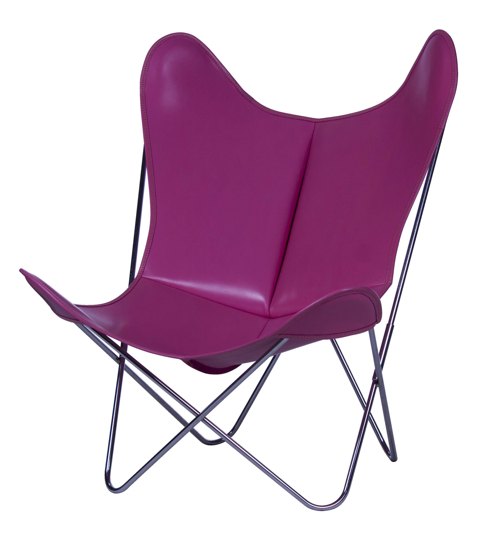 Möbel - Lounge Sessel - AA Butterfly Sessel Leder / Gestell chrom-glänzend - AA-New Design - Gestell chrom-glänzend / Leder rosa - Leder, verchromter Stahl