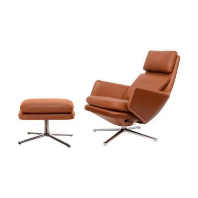 Mobilier - Fauteuils - Set fauteuil & repose-pieds Grand Relax & Ottoman / Pivotant & inclinable - Cuir - Vitra - Cognac (cuir) / Cognac foncé (cuir) -  Duvet,  Plumes, Aluminium injecté poli, Mousse polyuréthane, Plastique