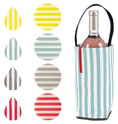 Set Riviera / Rafraîchisseur + 4 sous-verres + 4 bec-verseurs - L´Atelier du Vin jaune,rouge,gris,turquoise en matière plastique