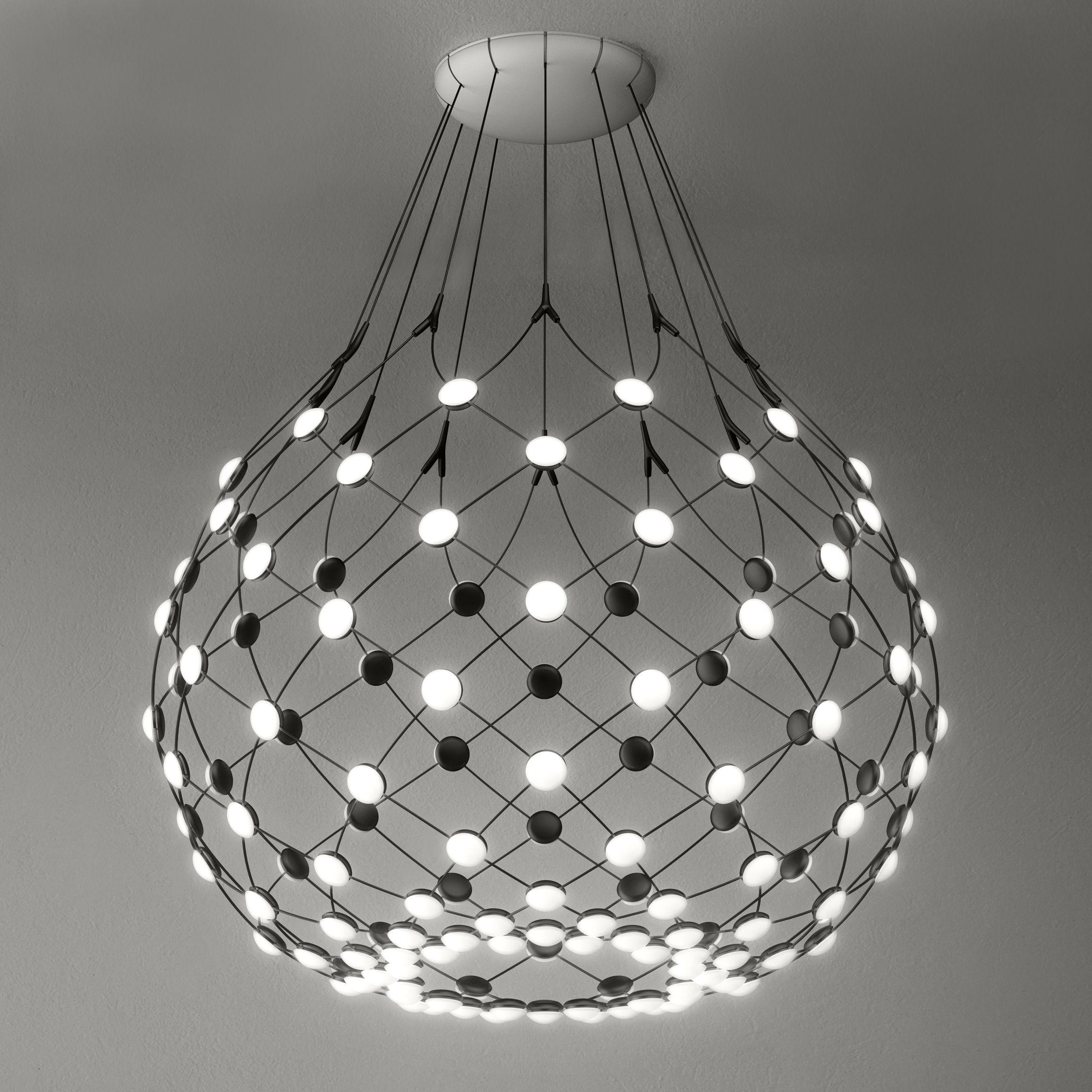 Illuminazione - Lampadari - Sospensione Mesh LED / Ø 100 x H 90 cm - Luceplan - Nero - Acciaio, policarbonato
