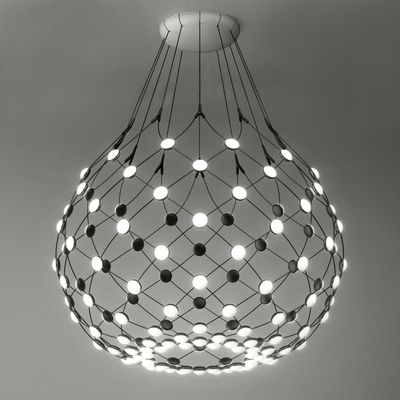 Suspension Mesh LED Large  / Ø 100 x H 90 cm - Luceplan noir en métal