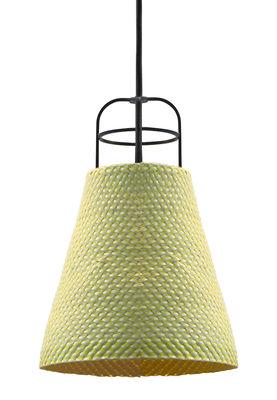 Luminaire - Suspensions - Suspension Sarn 2 / Ø 18 cm - Palme tressée - Spécimen Editions - Jaune - Acier, Palme tressée