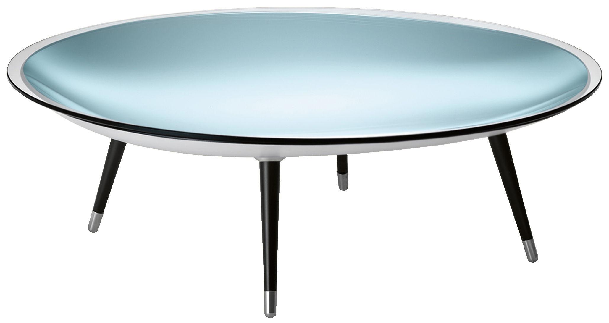 Mobilier - Tables basses - Table basse Roy / Ø 120 cm - FIAM - Plateau transparent / Base argent / Pieds noirs - Acier brossé, Verre