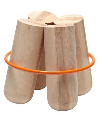 Mobilier - Tabourets bas - Tabouret Bolt / H 45 cm - Bois & métal - La Chance - Bois naturel / Anneau orange - Acier, Hêtre naturel