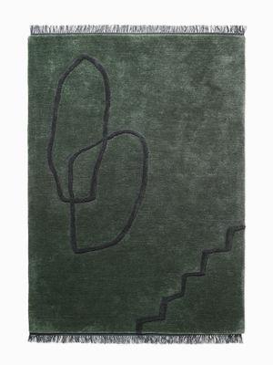 Désert Teppich / 140 x 200 cm - handgewebt - Ferm Living - Schwarz,Dunkelgrün