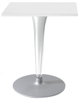 Outdoor - Tables de jardin - Table carrée Top Top - Contract outdoor / 70 x 70 cm - Kartell - Blanc/ pied rond - Aluminium verni, Mélamine, PMMA