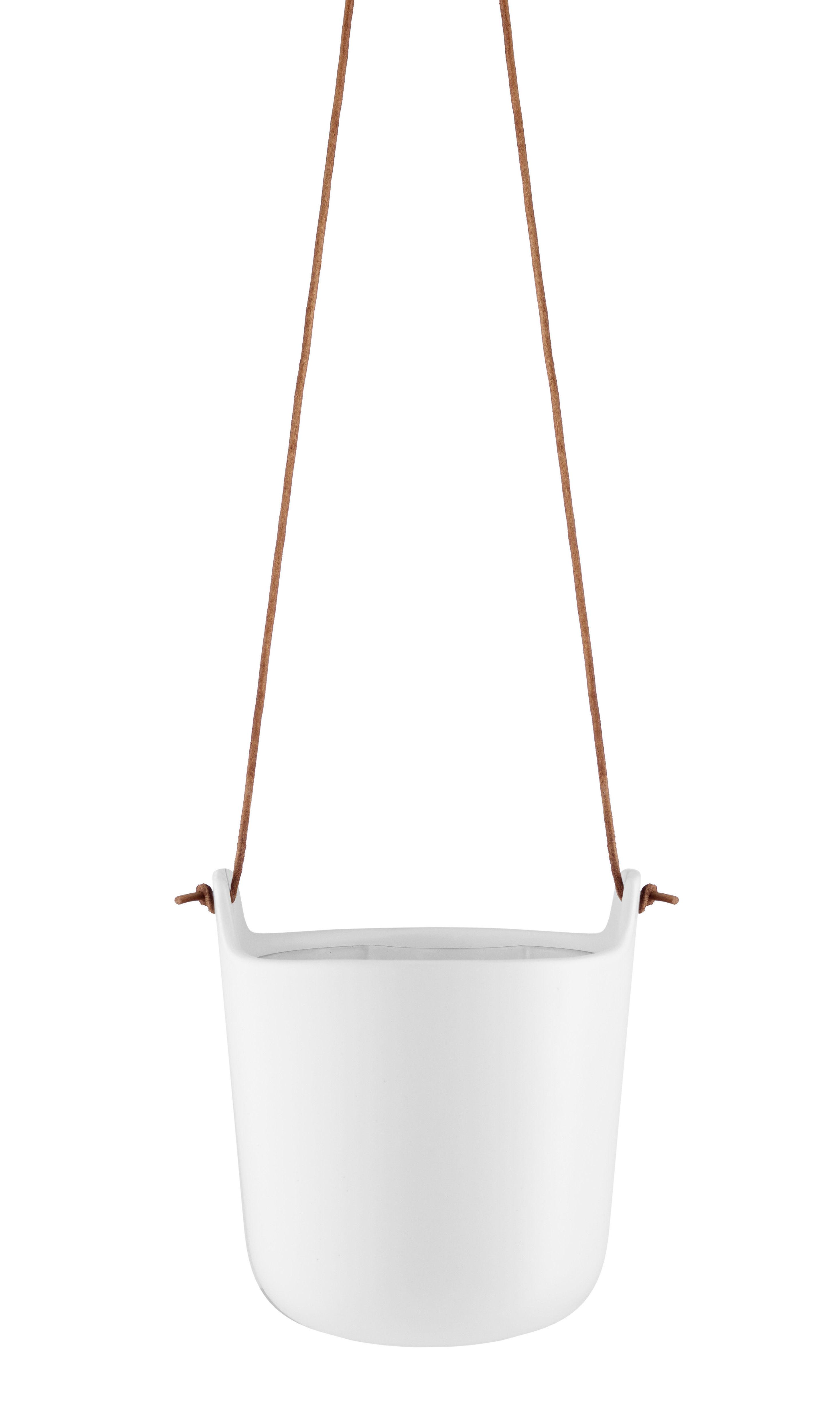 Interni - Vasi e Piante - Vaso sospeso - / Riserva d'acqua - Grès di Eva Solo - Bianco gesso / Cuoio naturale - Gres, Pelle, Plastica