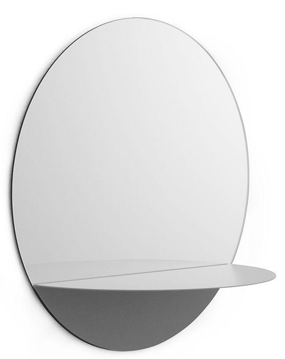 Furniture - Bookcases & Bookshelves - Horizon Rond Wall mirror - Shelf by Normann Copenhagen - Gris - Glass, Lacquered steel