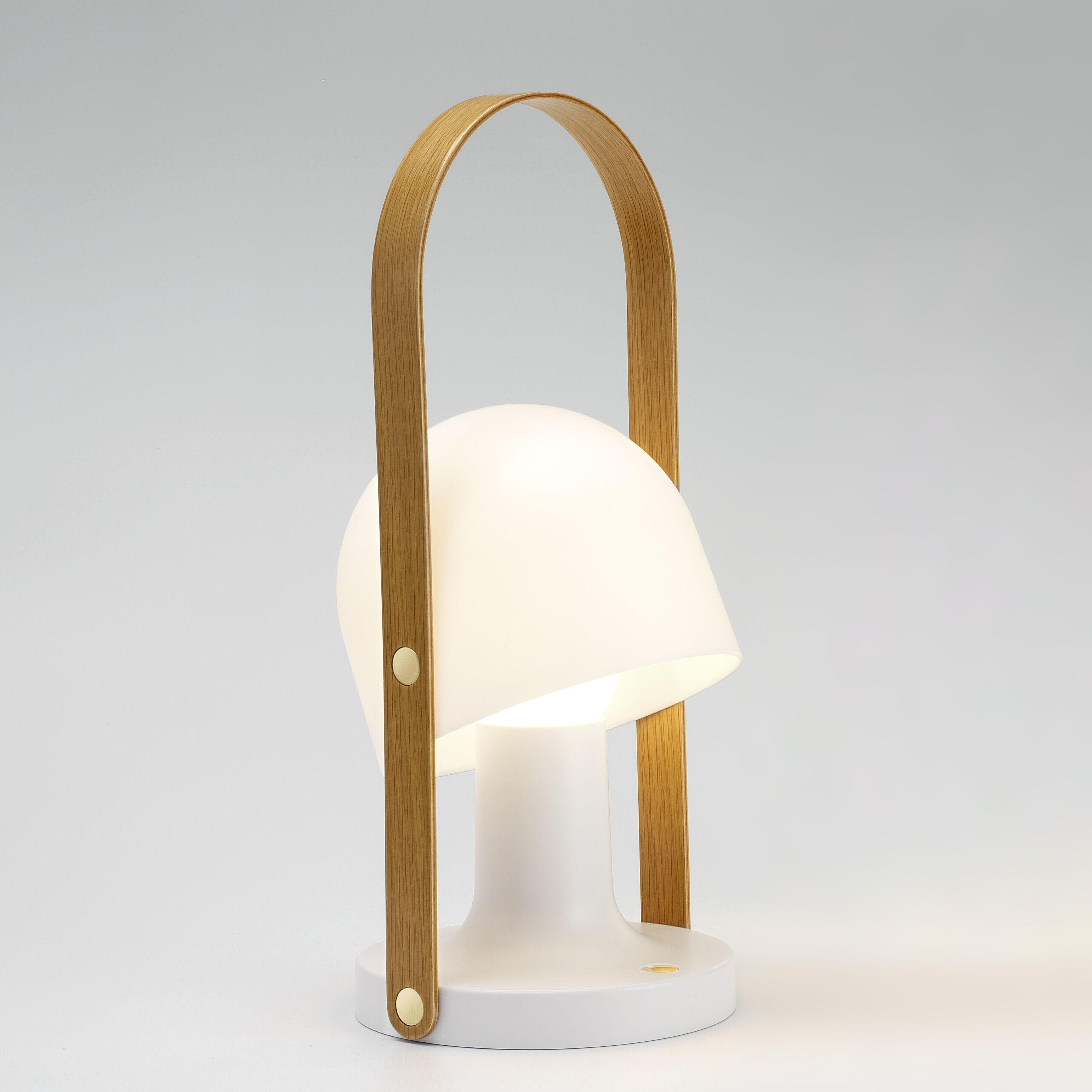Lighting - Table Lamps - FollowMe Plus Wireless lamp - / LED - H 44 cm by Marset - H 44 cm / White & wood - Oak plywood, Polycarbonate