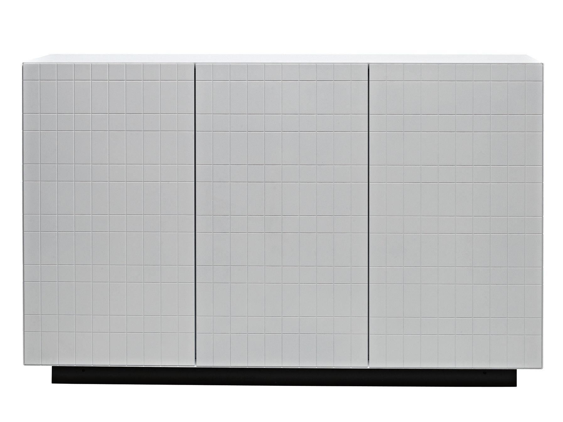 Möbel - Kommode und Anrichte - Toshi Anrichte / Modell N° 4 - L 136 cm x H 86 cm - Casamania - Weiß / Sockel anthrazit - lackierte Holzfaserplatte, Metall