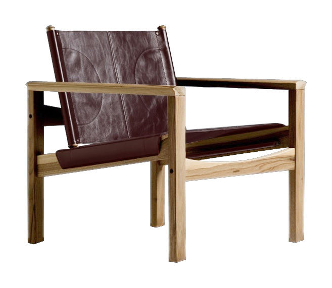 Furniture - Armchairs - Peglev Armchair - Armchair by Objekto - Oiled oak structure / Cognac leather seat - Leather, Oak