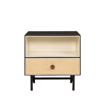 Furniture - Coffee Tables - Essence Bedside table - / Wood & rattan by Maison Sarah Lavoine - Ivory & black - Lacquered wood, Metal, Rattan marrow, Rosewood, Velvet