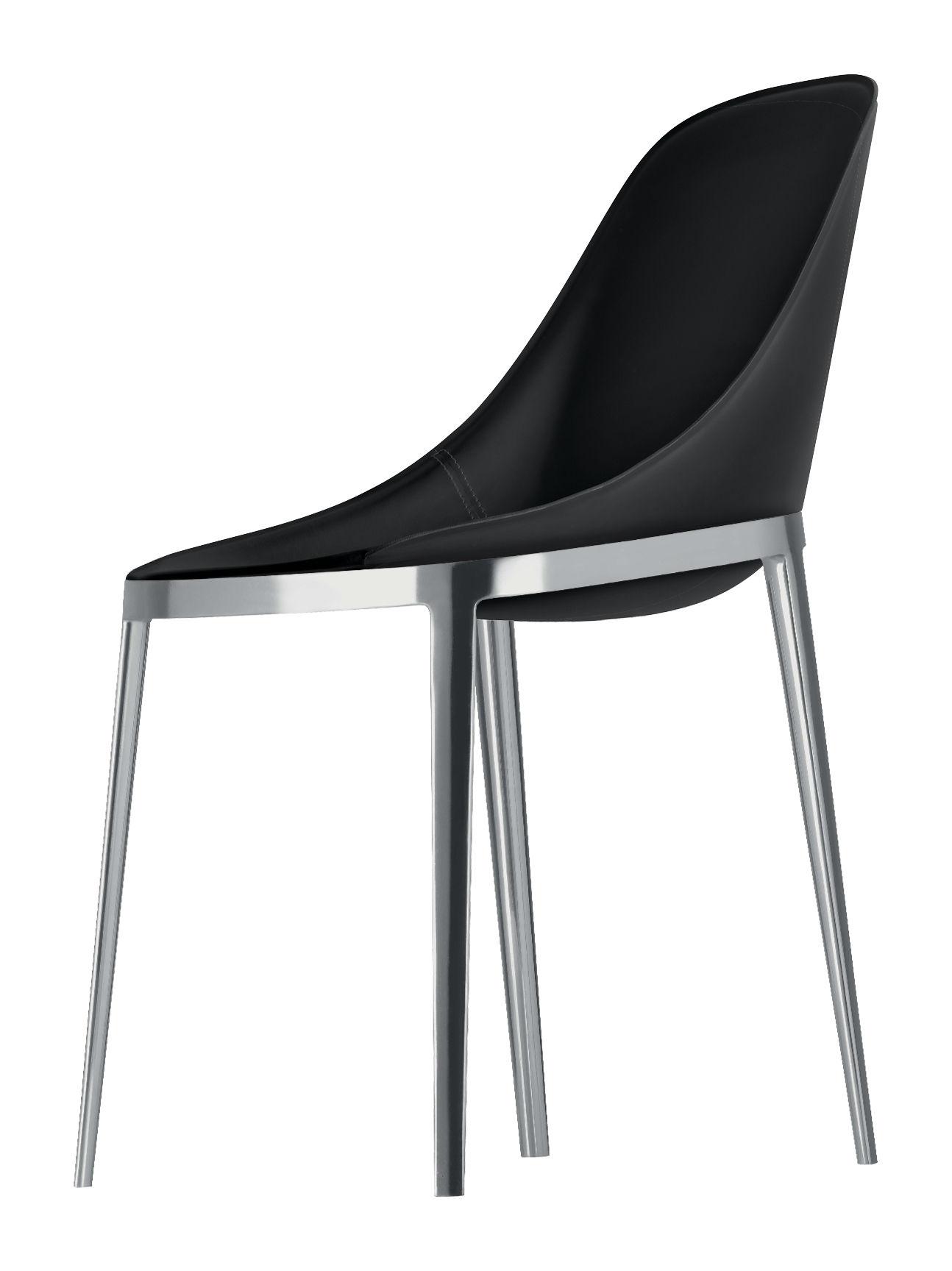 Mobilier - Chaises, fauteuils de salle à manger - Chaise Elle / Assise cuir sellier & pieds métal - Alias - Cuir noir / Structure alu poli - Aluminium poli, Cuir, Polyuréthane
