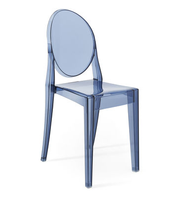 Mobilier - Chaises, fauteuils de salle à manger - Chaise empilable Victoria Ghost / Polycarbonate 2.0 - Kartell - Bleu poudré - Polycarbonate 2.0