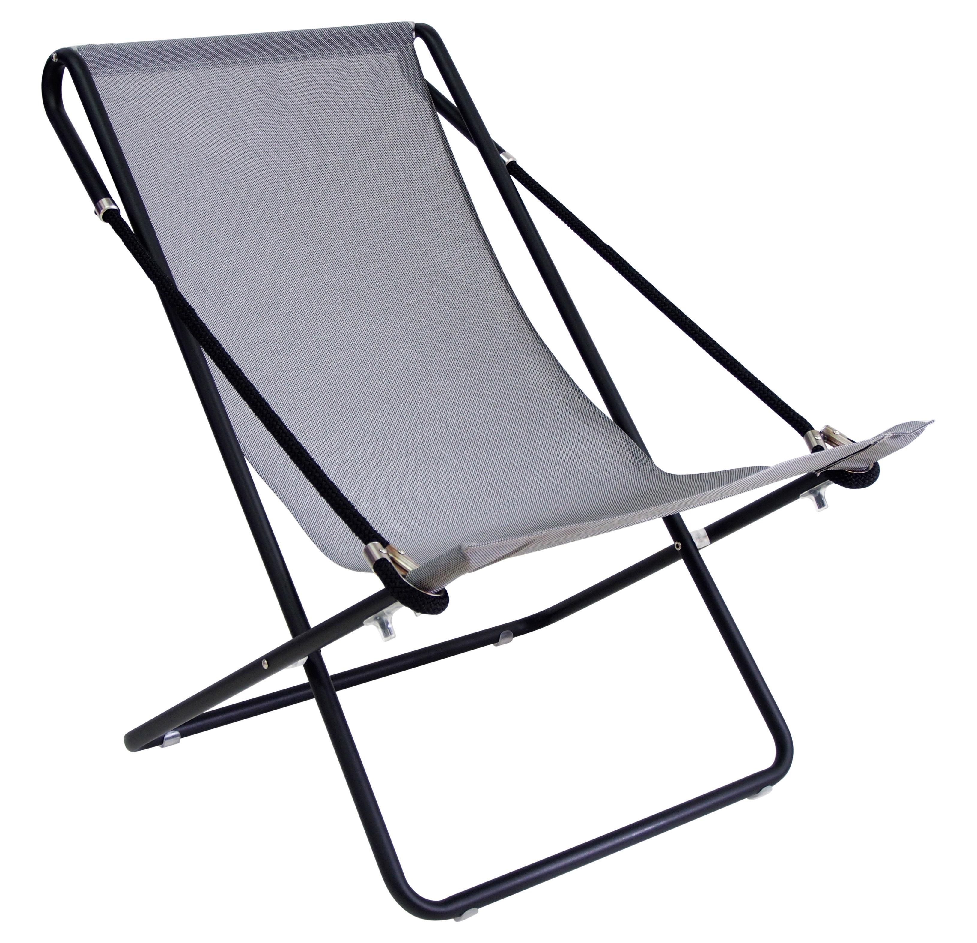 Outdoor - Chaises longues et hamacs - Chaise longue Vetta / Pliable - 2 positions - Emu - Gris foncé / Structure noire - Acier verni, Corde, Toile