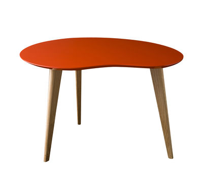 Furniture - Coffee Tables - Lalinde Small Coffee table - L 63cm / Wood legs by Sentou Edition - Red - Lacquered MDF, Oak