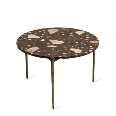 Furniture - Coffee Tables - Nougat Coffee table - / Ø 71 x H 40 cm - Terrazzo by Pols Potten - Brown - Patinated nickel-plated iron, Terrazzo