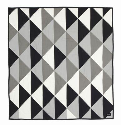 Déco - Textile - Couvre-lit Remix / 235 x 245 cm - Ferm Living - Gris, noir, blanc / Verso noir uni - Coton