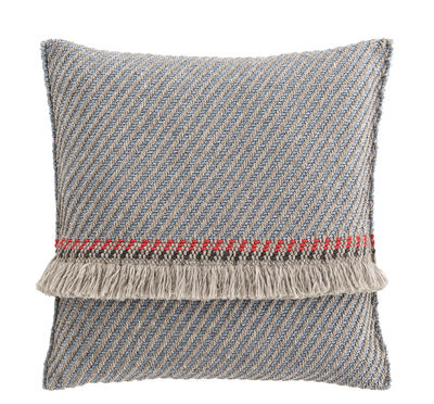 Decoration - Cushions & Poufs - Garden Layers Cushion - / Wide - Handwoven by Gan - Diagonals / Blue & almond - Foam rubber, Polypropylene