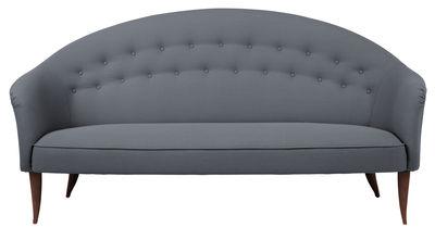Arredamento - Divani moderni - Divano destro Paradis - / Holmquist - L 180 cm - Riedizione 1956 di Gubi - grigio / Gambe noce - Noce massello, Tessuto Kvadrat