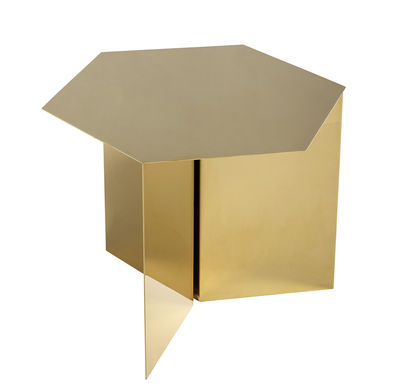 Furniture - Coffee Tables - Slit Hexagon End table - 45 x 45 cm by Hay - Brass - Epoxy lacquered steel