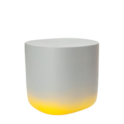 Furniture - Coffee Tables - Touch Medium End table - / L 37 x H 34 cm - Ceramic by Moustache - Light grey & yellow - Glazed ceramic