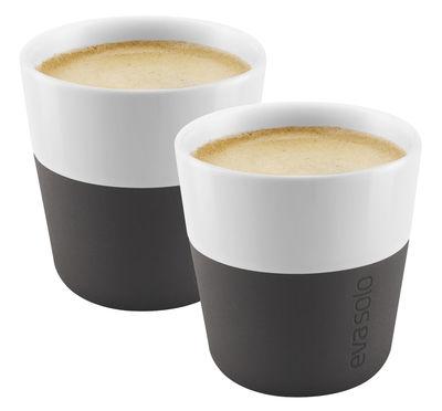 Tavola - Tazze e Boccali - Espresso tazza - /Set da 2 - 80 ml di Eva Solo - Bianco / Silicone nero carbone - Porcellana, Silicone