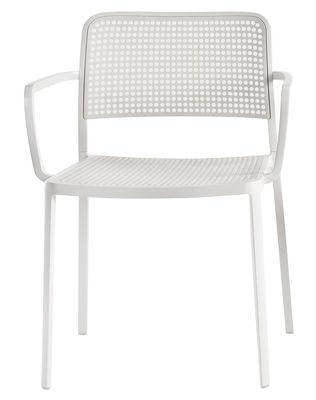 Mobilier - Chaises, fauteuils de salle à manger - Fauteuil empilable Audrey / Structure laquée - Kartell - Structure blanche / Assise blanche - Aluminium laqué, Polypropylène