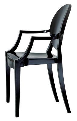 Mobilier - Chaises, fauteuils de salle à manger - Fauteuil empilable Louis Ghost / Polycarbonate 2.0 - Kartell - Noir opaque - Polycarbonate 2.10