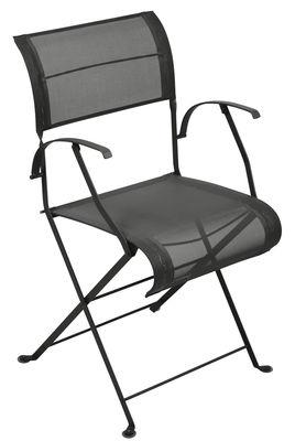 Chaise pliant Dune / Toile - Fermob noir en métal/tissu