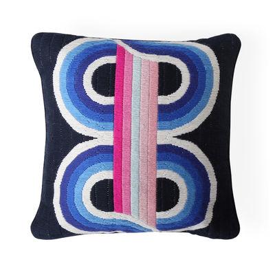 Dekoration - Kissen - Bargello Twist Kissen / 40 x 30 cm - Handgestickt / Wolle und Velours - Jonathan Adler - 40 x 30 cm / Blau & rosa -  Duvet,  Plumes, Velours, Wolle