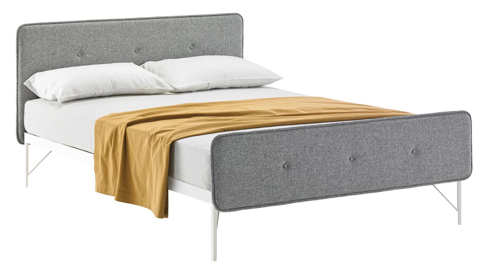 Mobilier - Lits - Lit double Hotel Royal / Pour matelas 160 x 200 - Zanotta - Tissu gris clair - Acier verni, Mousse polyuréthane, Tissu