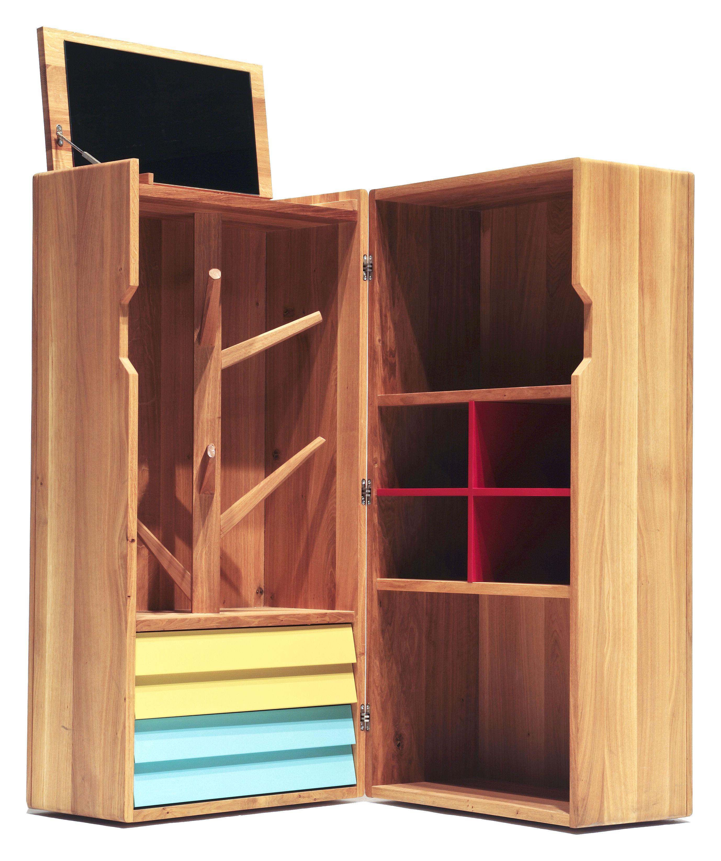 Mobilier - Mobilier d'exception - Malle Remix / Dressing L 140 x H 140 cm - The Hansen Family - Chêne / Jaune, Vert, Rouge - Chêne massif