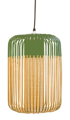 Lighting - Pendant Lighting - Bamboo Light L Pendant - H 50 x Ø 35 cm by Forestier - Green / Natural - Fabric, Metal, Natural bamboo