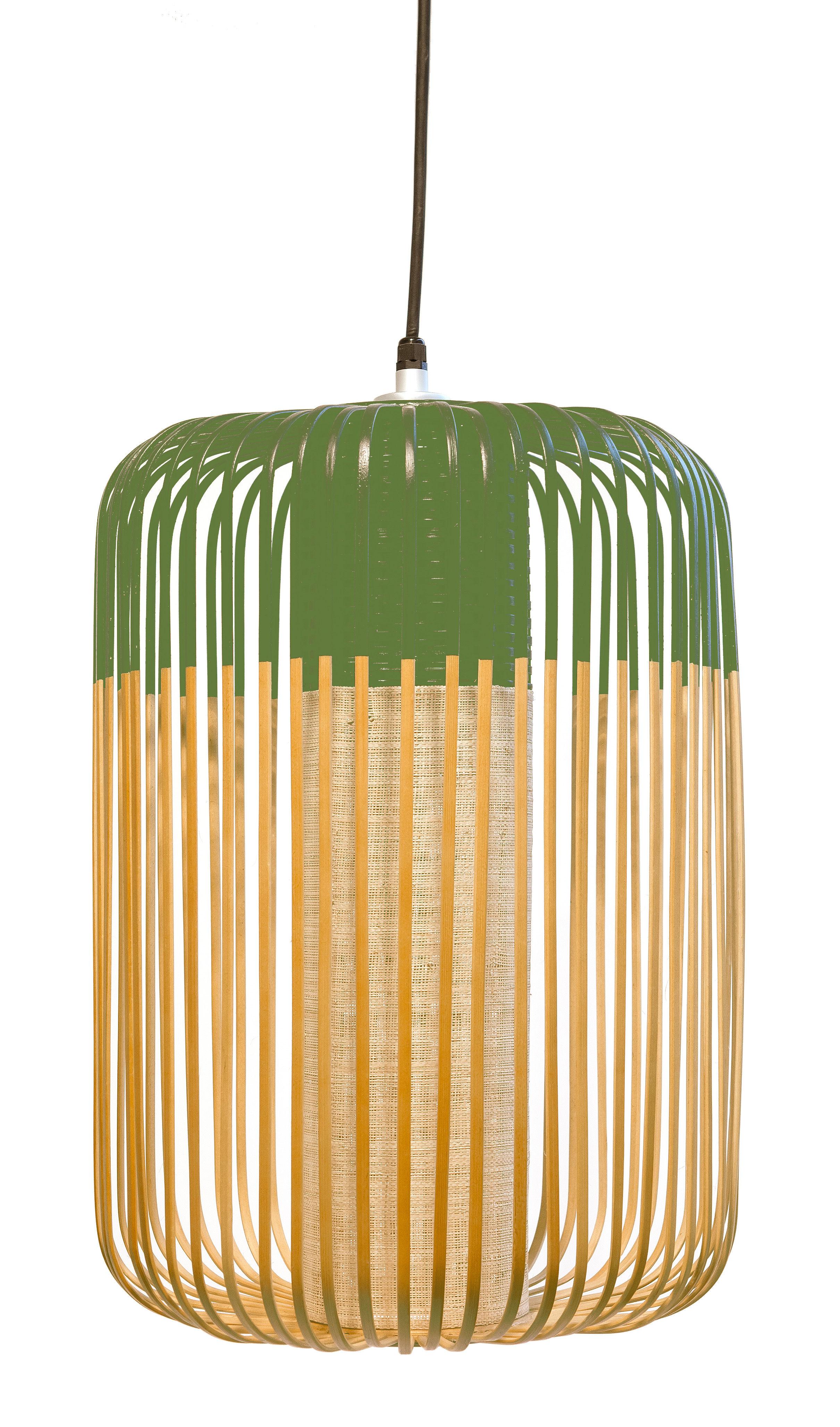 Lighting - Pendant Lighting - Bamboo Light L Pendant - H 50 x Ø 35 cm by Forestier - Green / Natural - Fabric, Metal, Natural bamboo
