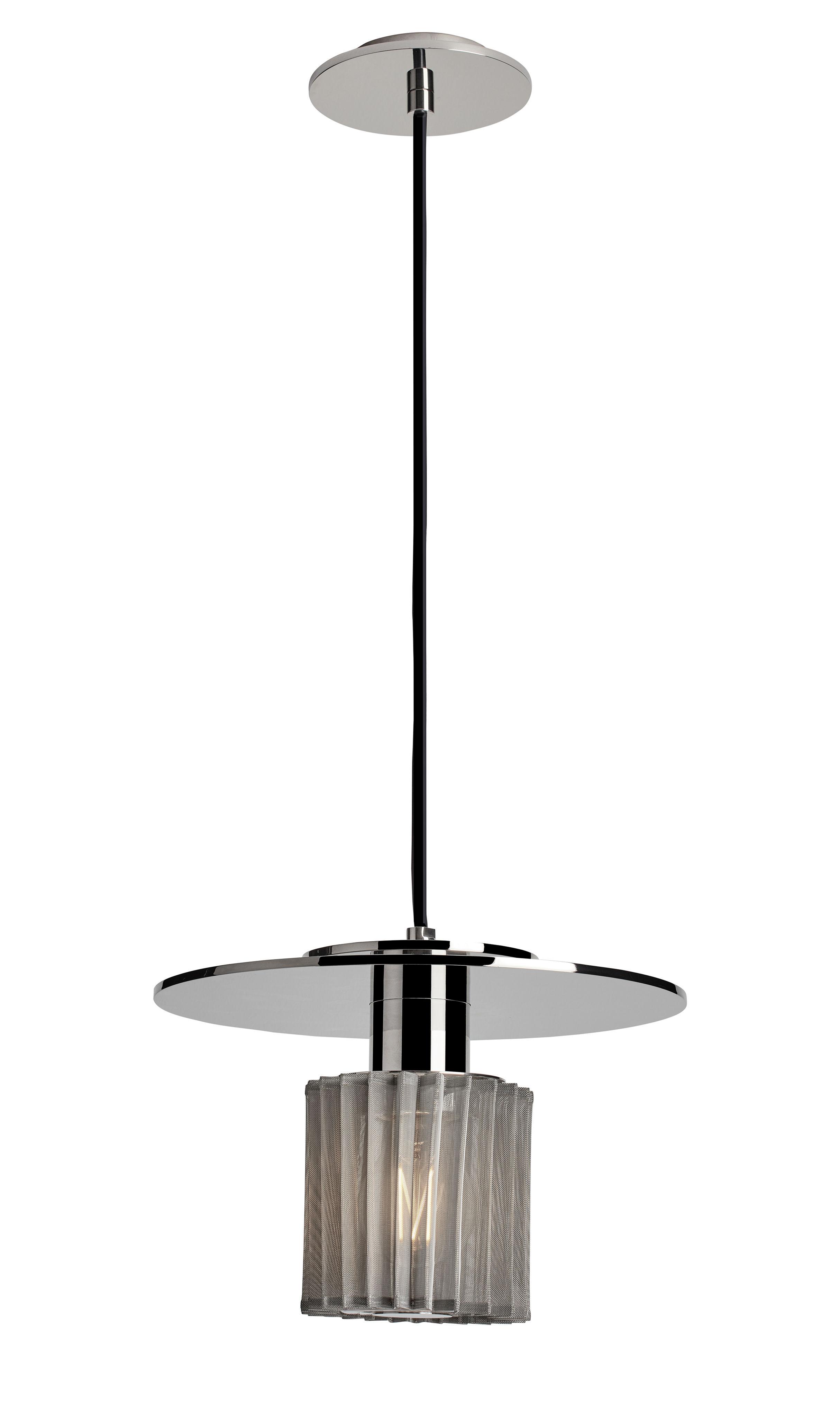 Lighting - Pendant Lighting - In the sun Medium Pendant - / Ø 27 cm by DCW éditions - Chrome / Silver mesh - Aluminium, Glass, Steel
